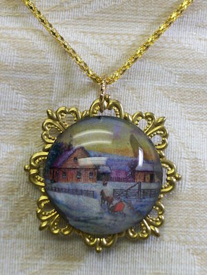 Orignal Jewelry - Winter on the Farm Gold Round Filigree Farm Scene