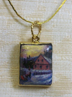 Orignal Jewelry - Winter on the Farm Small Gold Rectangle