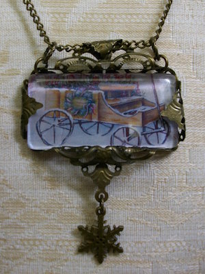 Orignal Jewelry - Four Seasons Winter Antique Gold Rectangle